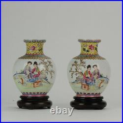SET 20C PROC 1960/70 Chinese Porcelain Vases Famille Rose eggshell Qianlong
