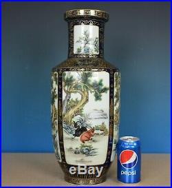Superb Antique Chinese Famille Rose Porcelain Vase Marked Qianlong Rare H9676