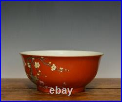 Superb Chinese Qing Qianlong Iron Red Glazed Famille Rose Floral Porcelain Bowl