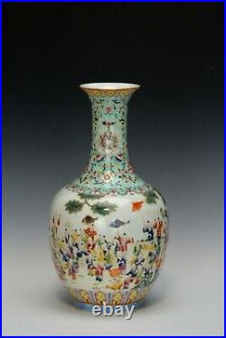 Superb Chinese Qing Qianlong Period Famille Rose Boys in Parade Porcelain Vase