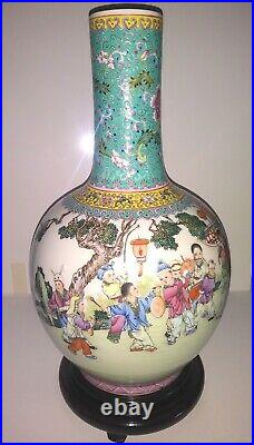 Vintage Chinese Famille Rose Playing Boys Vase, Qianlong, 18 tall, 20-th C